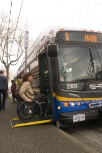 A low-floor bus with a ramp for mobility devices