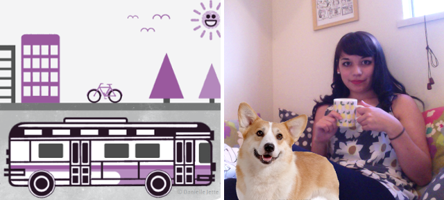 Danielle with her future corgi on the right and her illustration on the left!