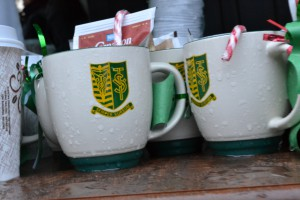 The goodies mug students were handing out along with hot chocolate!