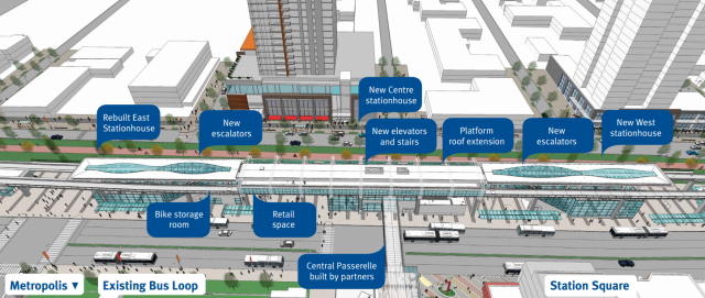 Summary of station upgrades at Metrotown Station