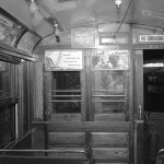Inside an old streetcar, 1946