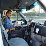 Burney in van