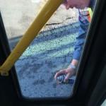 Burney oiling a door