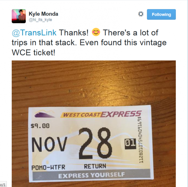Vintage West Coast Express Ticket