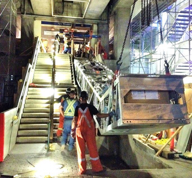 East escalator installation at New Westminster Station