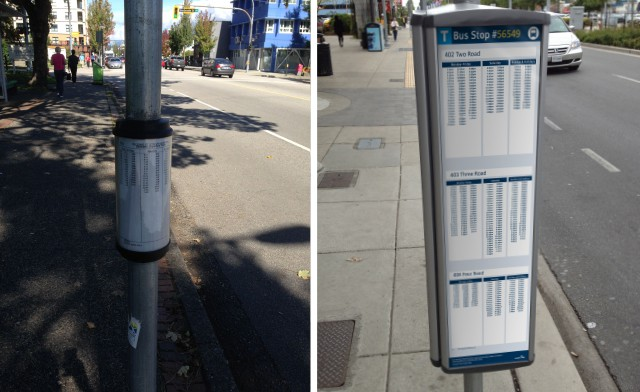 Existing infotube (left) and new scheduling panel (right)