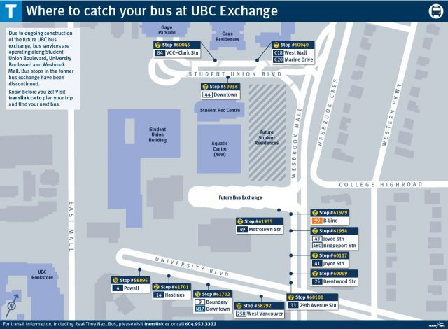 Bus stop locations as of March 6, 2017