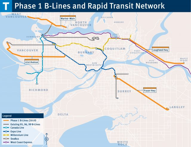 Map of proposed B-Line and Rapid Transit Routes