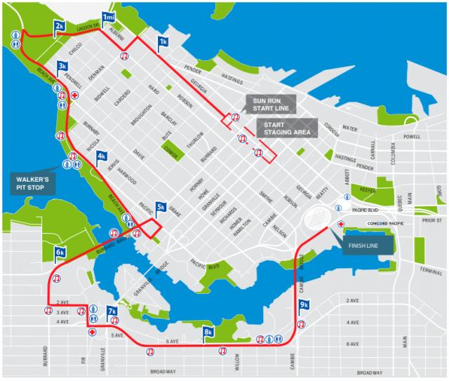 Sun Run Course Map