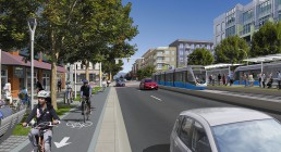 Rendering of the Surrey–Newton–Guildford LRT