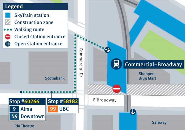 Temporary westbound bus stops for the 9 and 99