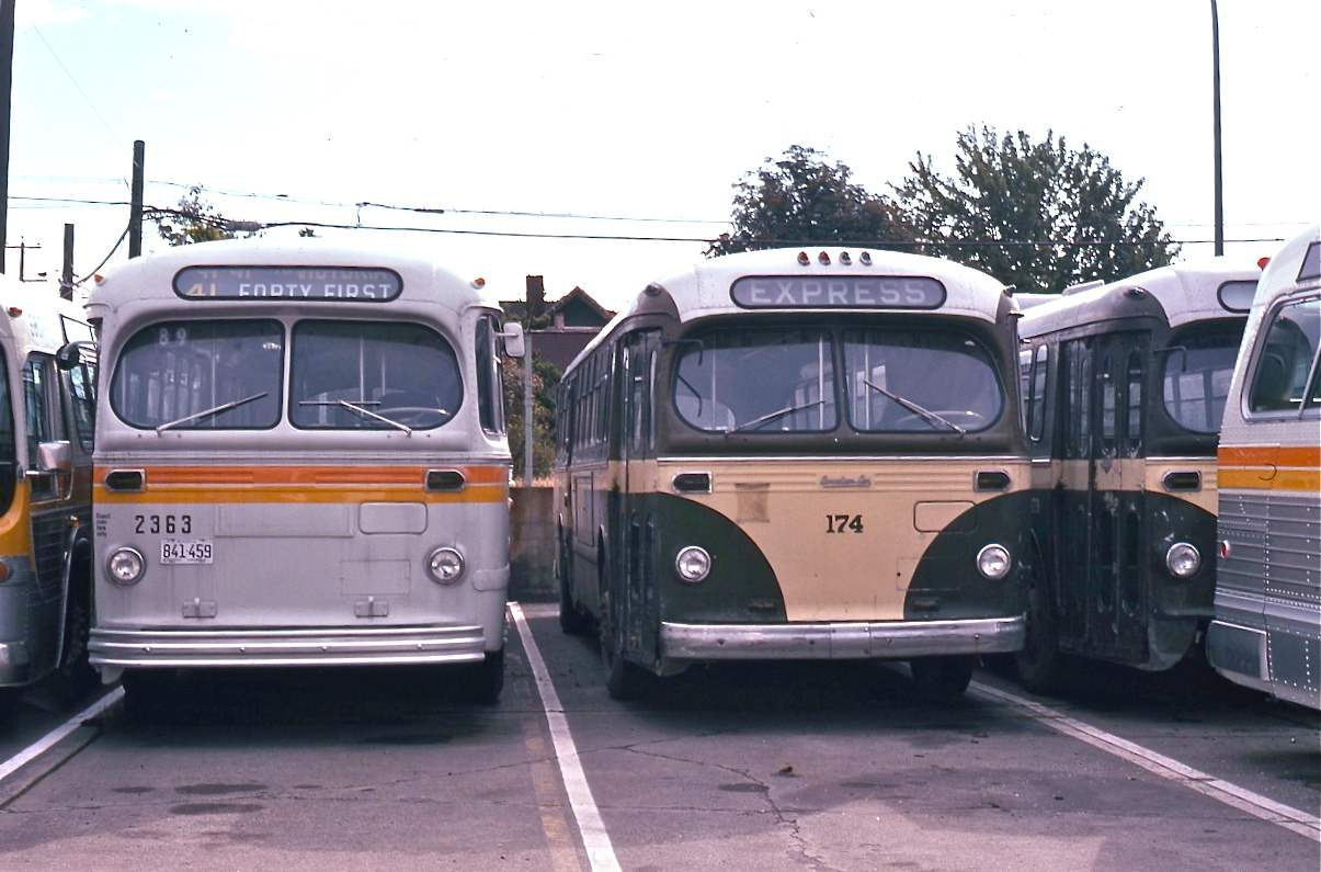 Ex-Saskatoon Brill trolleys being repainted at Cambie Shops, 14th and Cambie. 1974.