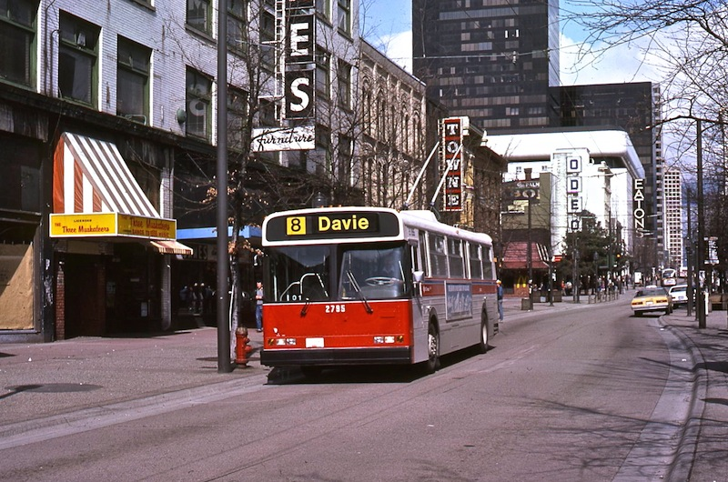 New Flyer trolley 2795 on Granville Mall circa 1984