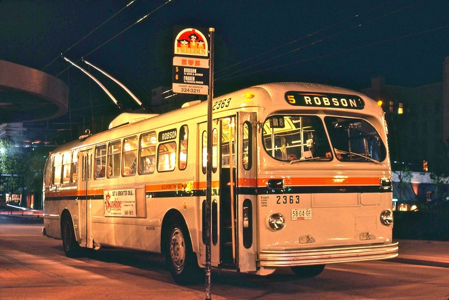 Night view of ex-Saskatoon Brill trolley 2363 on Robson W/B at Howe Street