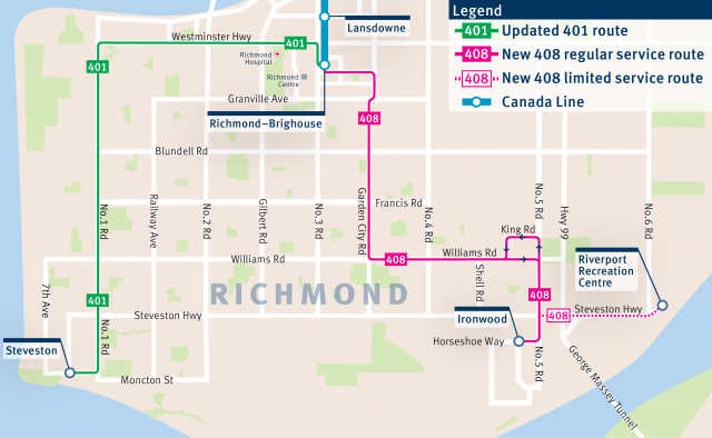 The 401 and 408 routes starting on Sept. 3, 2018