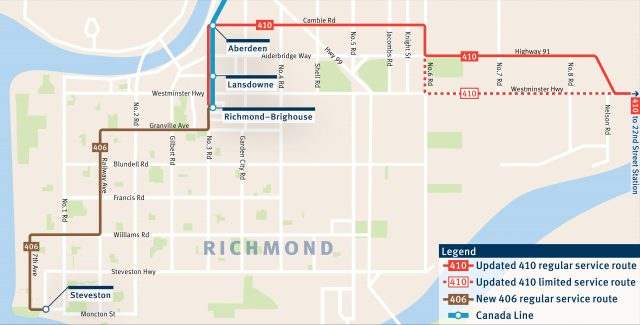 The 406 and 410 routes starting on Sept. 3, 2018