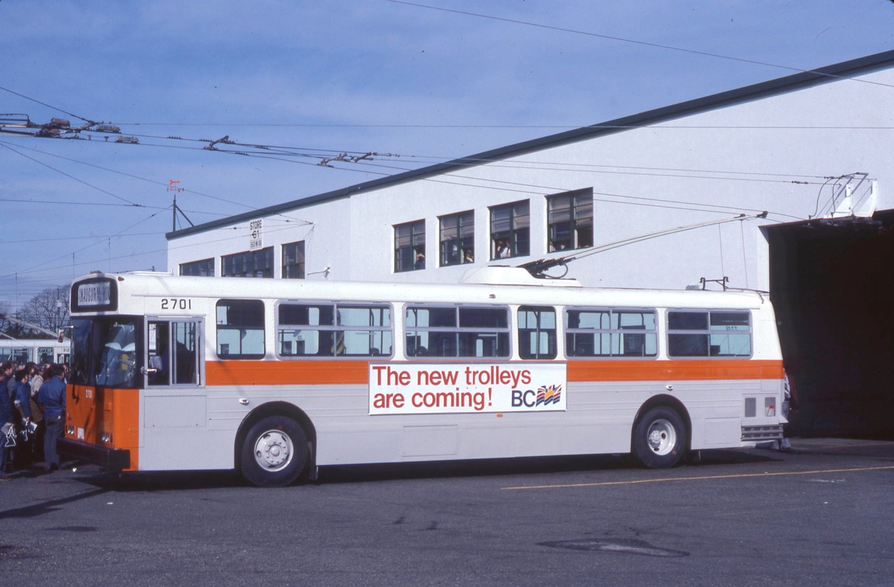 The inaugural run with New Flyer 2701 in 1982 at Oakridge Transit Centre