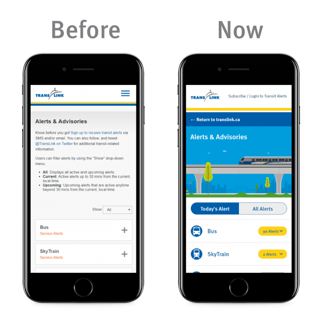 A comparison of the previous and new Transit Alerts page.