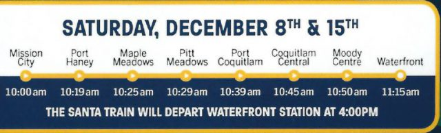 West Coast Express Santa train schedule