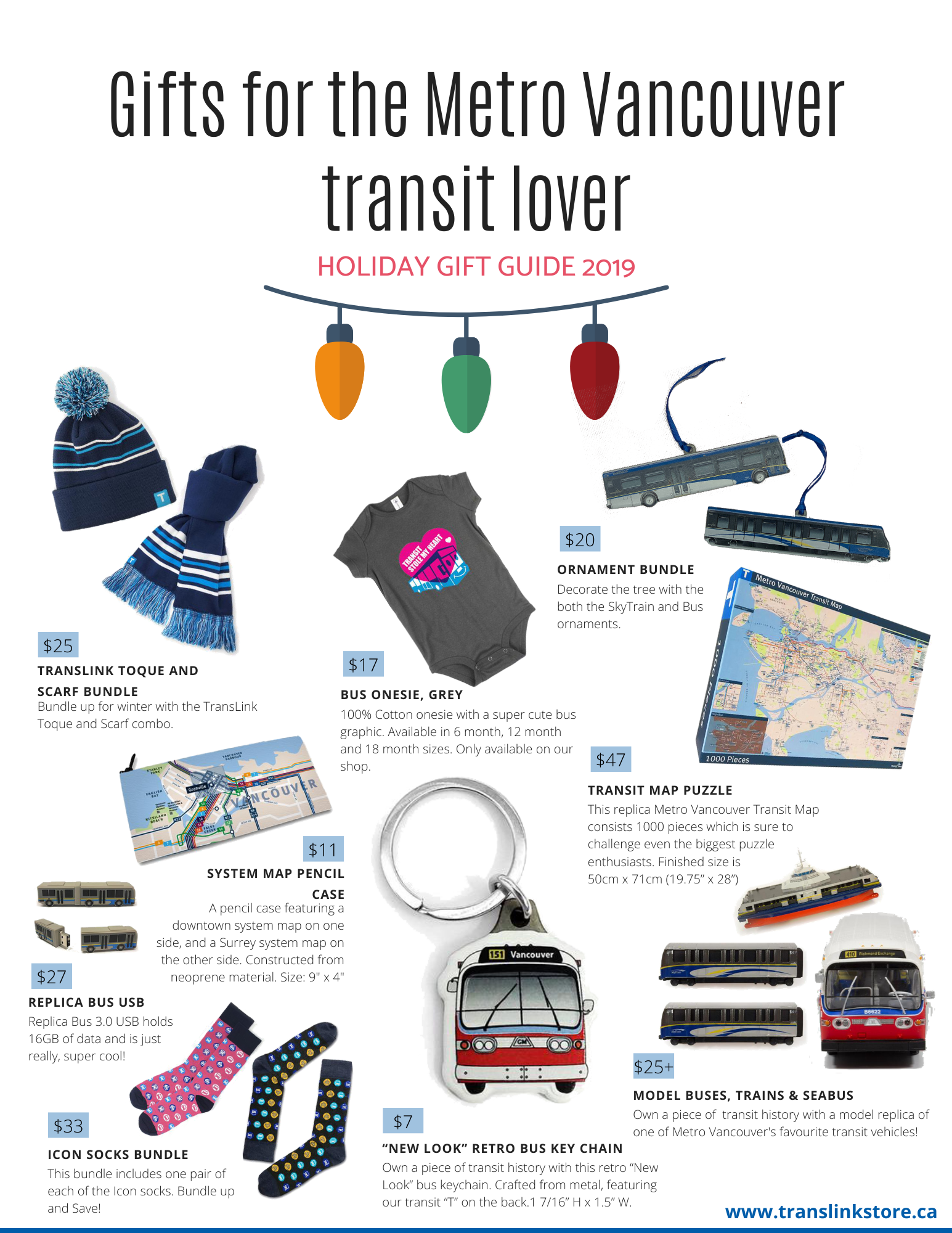 Holiday Gift Guide 2019 - Gifts for the Metro Vancouver transit lover