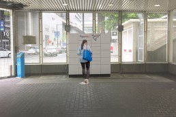 A rendering of what the future PigeonBox locker could look like at Stadium–Chinatown Station.