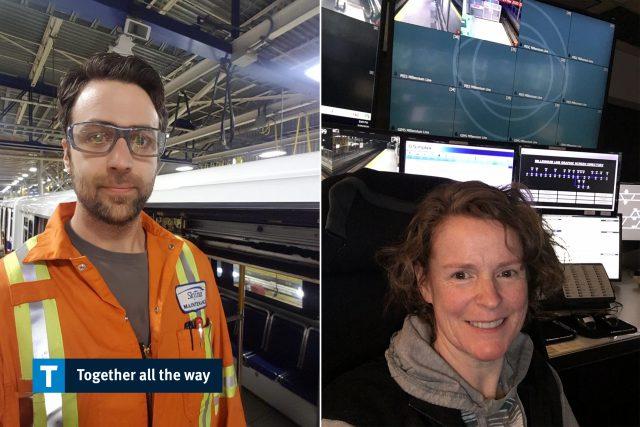 SkyTrain staff Andrew Ferguson and Annaliese Hunt
