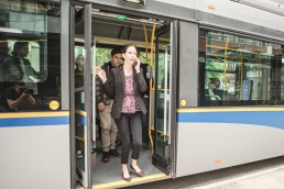 Customers disembarking bus