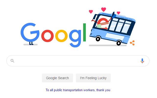 "The April 14 ""doodle"" on Google thanks public transportation workers."