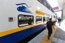 A West Coast Express train at Waterfront Station