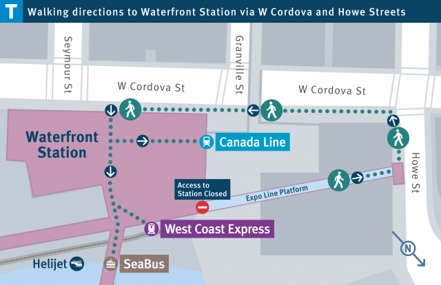 Map showing walking directions to Waterfront Station via W Cordova and Howe Streets