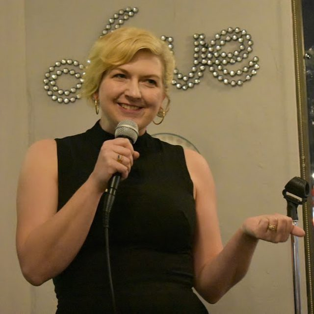 Pamela Findling performing at the comedy show