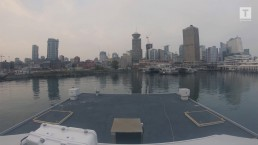 View from the SeaBus arriving at Waterfront Station
