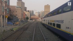 View from the West Coast Express arriving at Waterfront Station