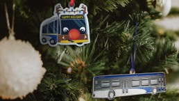 Bus and Reindeer Bus ornament
