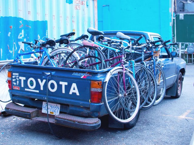 A pickup truck full of bikes for the Pedals for People program.