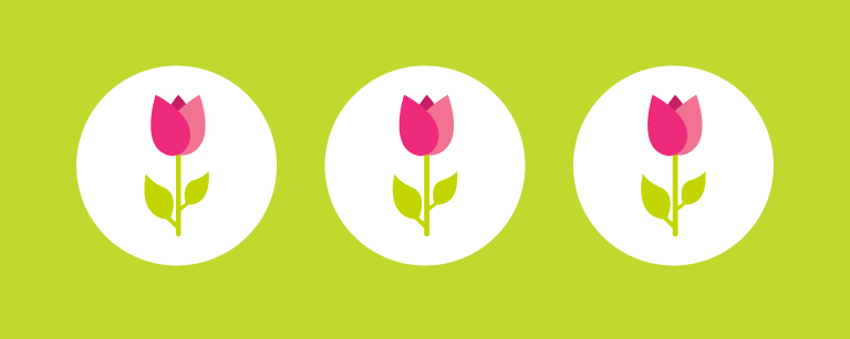 graphic image of three tulips on a green background