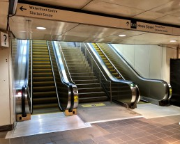 New escalators at Waterfront Station's Howe Street entrance