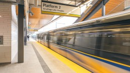 SkyTrain car departing Moody Centre Station