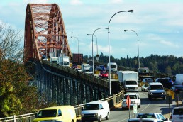 Cars and trucks crossing the Pattullo Bridge