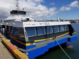 The Burrard Chinook SeaBus docked at the Point Hope Maritime Shipyard