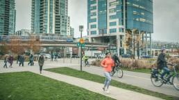 Walking, jogging and cycling near Main Street–Science World Station