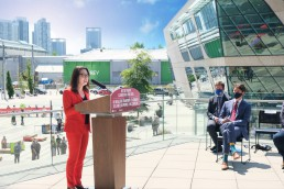 TransLink Interim CEO Gigi Chen-Kuo speaks at the funding announcement for the Surrey Langley SkyTrain project