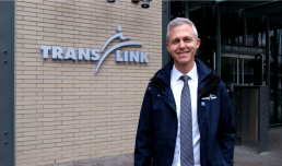 A portrait of TransLink CEO Kevin Quinn outside the head office